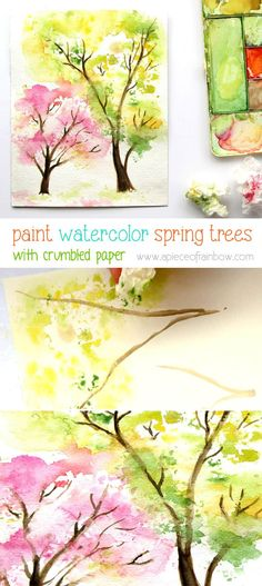 Spring Trees Watercolor Painting with... Crumpled Paper! - A Piece Of Rainbow Tree Watercolor Painting, Painting & Drawing, Rainbow Painting, Spring Painting, Watercolor Portraits, Watercolor Landscape, Painting With Watercolors, Watercolor Flowers, Water Color Painting Easy