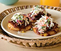 BBQ leftovers, coleslaw and corn cakes mesh deliciously in these open-faced sandwiches.
