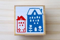 Nordic stamp  Lovely house  Middle size by karaku on Etsy, ¥650