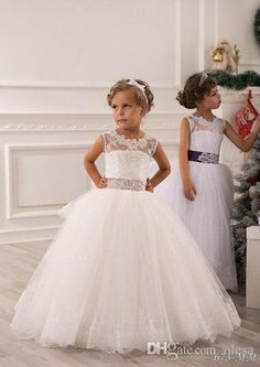 Online Shopping 2015 Summer Flower Girl Dresses For Weddings Ball Gown Princess Floor Length White Lace Tulle Appliques Toddler Party Dresses Pageant Gowns 71.21 | m.dhgate.com