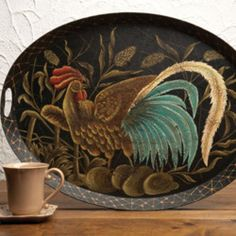 Rooster Tole Tray