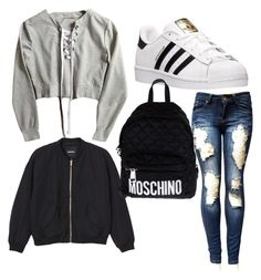 """""""Untitled #67"""" by kiiit-thy on Polyvore featuring adidas, Monki and Moschino"""