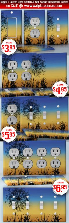DIY Do It Yourself Home Decor - Easy to apply wall plate wraps | Black Dandelion  Beautiful background with flower  wallplate skin stickers for single, double, triple and quadruple Toggle and Decora Light Switches, Wall Socket Duplex Receptacles, and blank decals without inside cuts for special outlets | On SALE now only $3.95 - $6.95