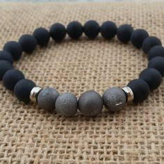 Drusy Metallic Silvery Geode Quartz Men Bracelet