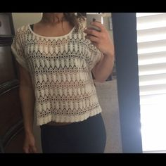 Cream crochet top Forever 21 crochet top! So cute with boyfriend jeans or denim shorts! Sz small, worn a couple of times. Perfect condition! Forever 21 Tops Tees - Short Sleeve