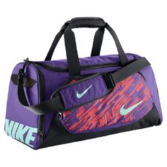 Nike YA TT (Small) Kid's Duffel Bag (Purple) from Nike. Nike Duffle Bag, Duffel Bags, Mochila Nike, Nike Bags, Gym Bags, Nike Under Armour, Purple Bags, Nike Shoes Outlet, Backpack Purse