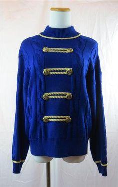 St John Marie Gray Womens Sweater Royal Blue Gold Trim Eagle Buttons Medium | eBay