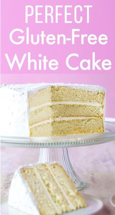 The Best Gluten-Free White Cake Recipe You've Ever Tried! This cake is perfect for birthdays and weddings The Best Gluten-Free White Cake Recipe You've Ever Tried! This cake is perfect for birthdays and weddings and does not require a mix. Gluten Free Sweets, Gluten Free Cakes, Gluten Free Baking, Gluten Free Vegan Cake, Gluten Free Wedding Cake, Gluten Free Birthday Cake, Cake Birthday, Best Gluten Free White Cake Recipe, Easy Cake Recipes