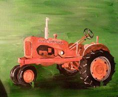 Allis Chalmers tractor painting in acrylic