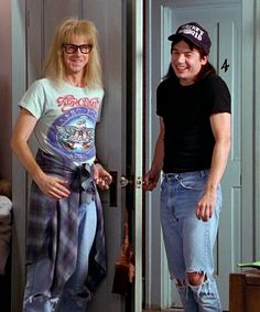 Wayne and Garth halloween costume. So being this for Halloween! Themed Halloween Costumes, Movie Character Costumes, Movie Halloween Costumes, 80s Costume, Halloween Kostüm, Girl Costumes, Costume Ideas, Funny Movie Costumes, Goddess Halloween
