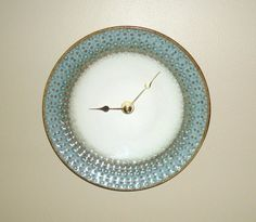 Stoneware Plate Clock Blue and Bronze Wall Clock by makingtimetc, $35.00