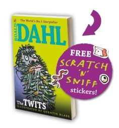 The Twits scratch 'n' sniff sticker anniversary special. Aroma Co have provided the stinky aroma for the free scratch and sniff stickers. The Twits, 35th Anniversary, Roald Dahl, Picture Show, Storytelling, Stickers, Illustration, Fiction, Free