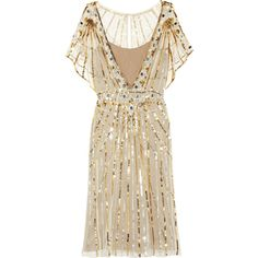 Temperley London Web sequined tulle dress ($645) ❤ liked on Polyvore featuring dresses, vestidos, short dresses, cocktail dresses, gold, sheer dress, sheer sequin dress, sequin mini dress, brown dress and sequin dresses