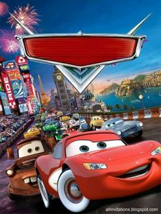 Cars Birthday Party Invites Lightning Mcqueen 49 Ideas For 2019 Disney Cars Party, Disney Cars Birthday, Disney Pixar Cars, Car Themed Parties, Cars Birthday Parties, Happy Birthday, 5th Birthday, Mc Queen Carros, Cars Birthday Invitations