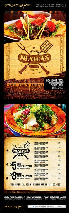 Mexican Restaurant Take-out Menu Template http\/\/wwwdlayouts - sample cafe menu template