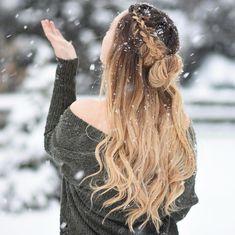 pull through | side | braid | waterfall | bun | half up half down | long curly hairstyle | blonde | dark root
