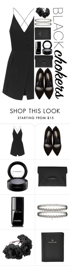 """""""Black Chokers"""" by chxncenjh ❤ liked on Polyvore featuring Topshop, Nicholas Kirkwood, MAC Cosmetics, Givenchy, Chanel, Miss Selfridge, FOSSIL and blackchokers"""