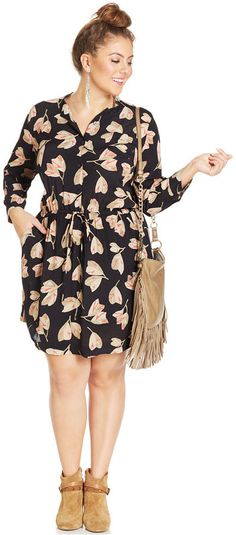 Too cute for spring!  Plus Size Dress - Lucky Brand Plus Size Floral-Print Shirtdress