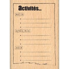 ACTIVITES DU JOUR