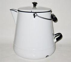 Vintage Enamelware Coffee Pot Large White with Black Trim Wood Handle $44.95