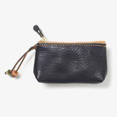 Leather Zipper Key Case Black