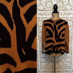Animal Print Pullover Sweater Brown Sweater Zebra Tiger Print Black & Brown Sweater << Autumn Sweater >> Hipster Sweater
