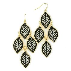 Filigree Black Leaf Earrings