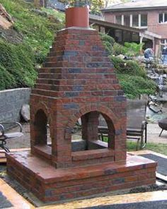 4 sided outdoor fireplace (brick)