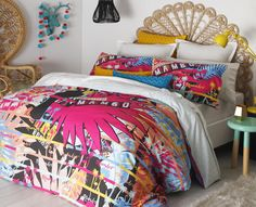 Add a tropical flavour to your bedroom with this colourful and fun Tropics Pink Quilt Cover Set by Mambo. It features a print design of tropical leaves of palm trees and bananas with flamingo birds printed in tropical colours. Pink Quilts, Cute Quilts, Kids Bed Linen, Cool Kids Rooms, Cotton Polyester Fabric, Tropical Colors, Girl Themes, Flamingo Print, Quilt Cover Sets