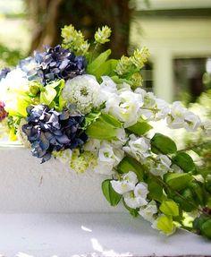 DIY Briadal flower bouquets  DIY Cascading Blue and Vibrant Green Bouquet
