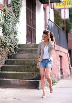 summer casual style // olive green bomber jacket, white tee, cutoff shorts (all available in petites!)