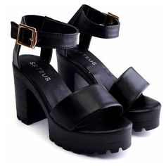 Designer Clothes, Shoes & Bags for Women Black And White Sandals, Black Shoes, Chunky Heel Shoes, Chunky Sandals, Kawaii Shoes, Summer Shoes, Summer Sandals, Shoe Boots, Shoes Sandals