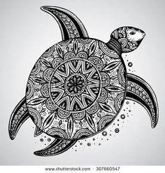 Zentangle Animals Hand Drawn Vector Monochrome Doodle Turtle Decorated With Oriental. Design Ideas Inspirations - Hand drawn vector monochrome doodle turtle decorated with oriental Doodle Art Drawing, Zentangle Drawings, Pencil Art Drawings, Zentangles, Art Sketches, Animal Drawings, Zentangle Art Ideas, Doodling Art, Zen Doodle
