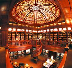 The Skywalker Ranch — film producer George Lucas private retreat — houses a research library with a magnificent glass ceiling dome in Nicasio, California. Though the ranch is not open to the public, filmmakers can make an appointment to visit. Beautiful Library, Dream Library, Library Books, Library Ideas, Library Inspiration, Strange Magic, Cool Bookshelves, Bookcases, Retreat House