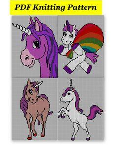 4 x Childrens & Adults Unicorn Jumper / Sweater Knitting