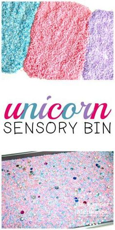 Dyed rice in pink, blue, and purple makes this fun sensory bin a hit with preschoolers! Add a few cups and spoons and let them explore to their heart's content. You're definitely going to want to try it out! Sensory Activities Toddlers, Preschool Themes, Baby Sensory, Kids Learning Activities, Sensory Bins, Toddler Preschool, Sensory Play, Preschool Worksheets, Toddler Crafts