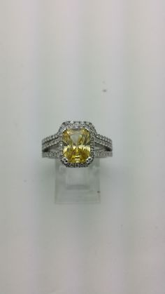 14kt White Gold Diamond Engagement Ring And Band 1.50 ctw G-SI2 Quality Diamonds And A 2ct Natural Yellow Topaz by EJCOLLECTIONS on Etsy https://www.etsy.com/listing/222613103/14kt-white-gold-diamond-engagement-ring