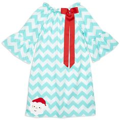 Girls Personalized Aqua Chevron Charlotte Dress – Lolly Wolly Doodle
