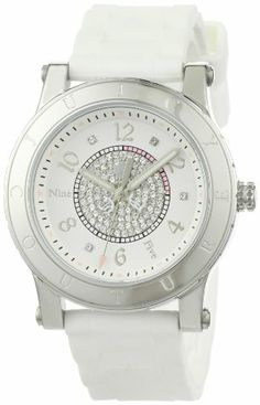simple    Juicy Couture Women's 1900772 HRH Stainless-Steel Case White Jelly Strap
