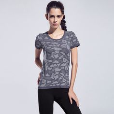 Women Short Sleeve Breathable FitnessGym Top - Quick-Drying High Elastic