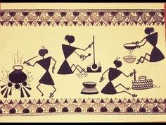 Warli painting - Traditional Cooking Techniques I Worli Painting, Fabric Painting, Fence Painting, Madhubani Art, Madhubani Painting, Pottery Painting Designs, Indian Art Paintings, Abstract Paintings, Indian Folk Art