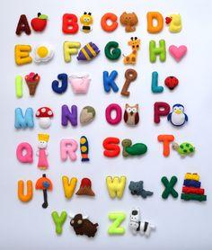 Magnet Stuffed  Felt Alphabet - Felt Letters , Alphabet - Game , Rainbow Alphabet on Etsy, $129.99