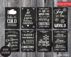 Printable Chalkboard Christmas Tags Instant Download