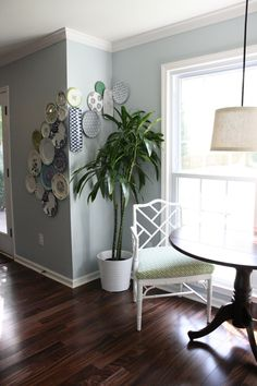 plate wall- love the way it wraps around! I see my handmade grandkids pottery could design my wall like this!