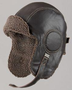 Leather Pilot Hat - Dark Brown