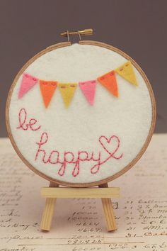 Embroidery Hoop Art, Be Happy, Felt Bunting in Pink, Orange and Yellow Nursery Decor by Catshy Crafts