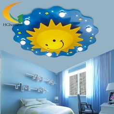 Children Ceiling lamps with Remote controller Kids Bedroom light Cartoon Sun decoration Ceiling Light LED Light Source family room décor *** AliExpress Affiliate's Pin. View the item in details now by clicking the image Chandelier Bedroom, Bedroom Lamps, Bedroom Lighting, Room Decor Bedroom, Kids Bedroom, Kids Ceiling Lights, Kids Lighting, Ceiling Lamps, Latest False Ceiling Designs