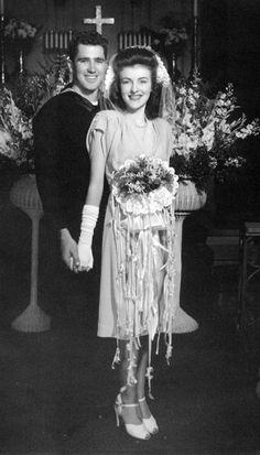 40s war era wedding sailor suit men women day cocktail dress hair shoes bride casual swing vintage fashion found photo print