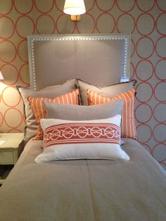 Suzanne Kasler's twin size Candler Bed looking fresh in linen and orange @Hickory Chair #hpmkt