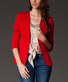 Red Open Blazer